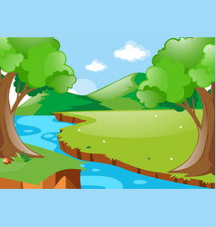 Scene with river in the woods vector