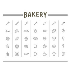 Set bakery pastry elements and bread icons can vector