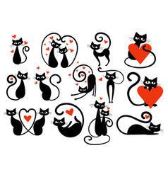 Set black cats with hearts collection cats vector