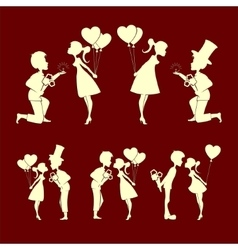 Set of silhouettes couples in love vector image