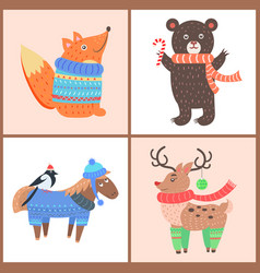 set posters with animals vector image