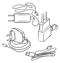 Set sketch chargers for mobile phones vector