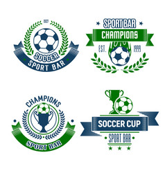 Soccer ball and trophy icon for football sport bar vector