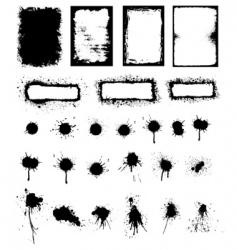 Splattered ink and grunge frame vector