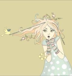 Spring girl with bird and flowers vector image