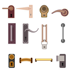 Stylish modern door handles collection vector