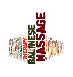 The balinese massage therapy text background word vector