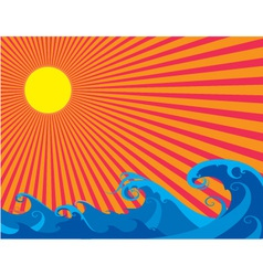 The sun and sea curly waves vector