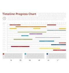 timeline progress graph gantt chart vector image