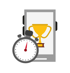 Trophy on smartphone screen and timer vector