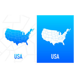 Us state contour line in white and blue color vector