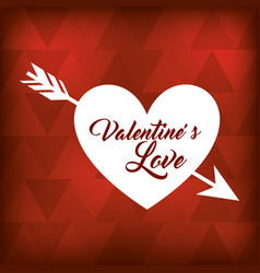 valentines love white heart arrow on red bastract vector image