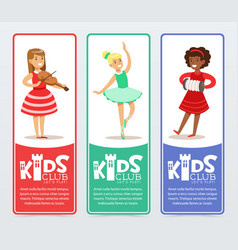Vertical banners set with teenager girls vector