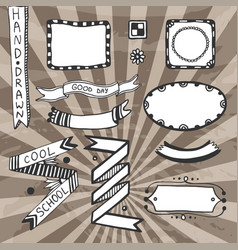 Vintage diy design elements drawing set of frames vector