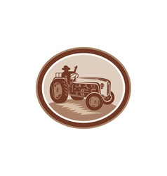 Vintage Farm Tractor Driver Waving Circle Retro vector
