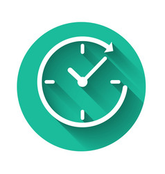 white clock with arrow icon isolated with long vector image
