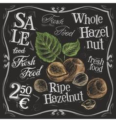 Whole hazelnut logo design template nut vector