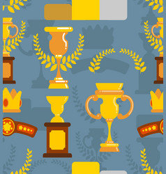 Winner awards are seamless pattern cups and olive vector