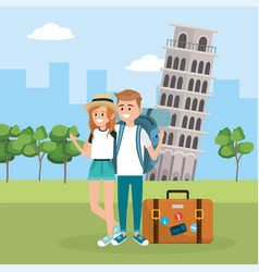 Woman and man in leaning tower pisa vector