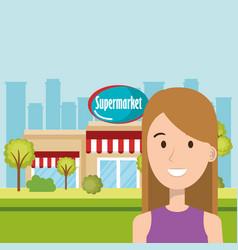 woman in supermarket building front scene vector image
