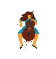Young woman playing cello female cellist musicain vector