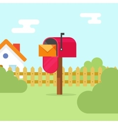 Mailbox with letter envelope and house landscape vector image
