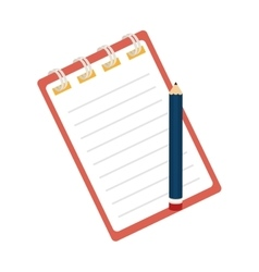 notebook pencil notes stationary icon vector image
