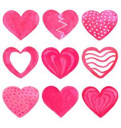 set of pink watercolor hearts vector image