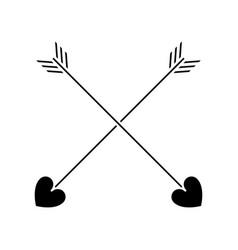 silhouette love crossed arrow element decoration vector image