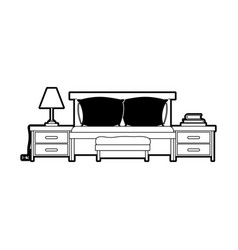 bed with nightstand black color section silhouette vector image vector image