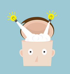 bulb idea flying from head vector image