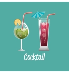 cocktail glass red and green design vector image