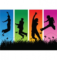 jumping people silhouettes vector image vector image