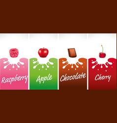 Milk splash with raspberry apple chocolate vector