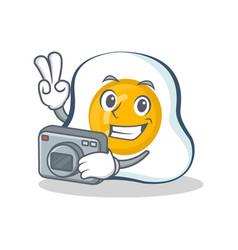 Photography fried egg character cartoon vector