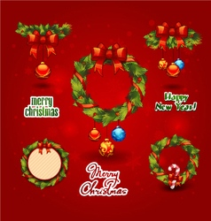 Set christmas wreath balls label vector
