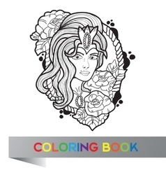 tattoo design of nice girl with long curly hair vector image
