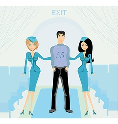 Two beautiful stewardess in blue uniforms inside vector image vector image