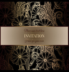 Abstract background with flowers luxury black and vector
