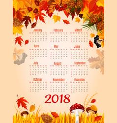 autumn leaf fall 2018 calendar template vector image vector image