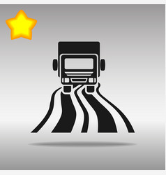 black truck on the road icon button logo symbol vector image