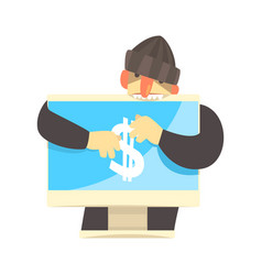 cartoon hacker character stealing money from a vector image vector image