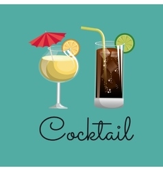 Cocktail glass fruit and ice design vector
