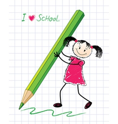 little girl with a pencil vector image