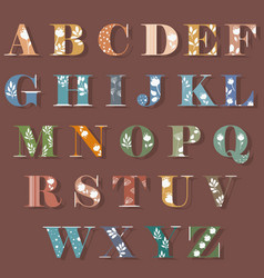 colorful alphabet with white floral decor vector image vector image