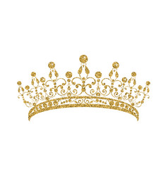 Glittering diadem golden tiara isolated on white vector