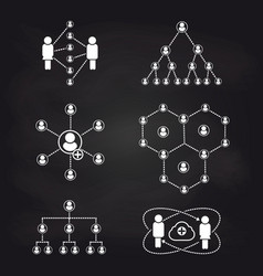 people connection icons on blackboard background vector image