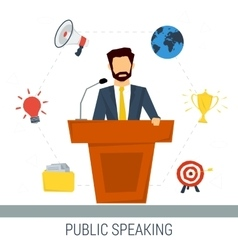 Public speaker from tribune vector image vector image