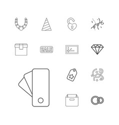 13 gift icons vector image