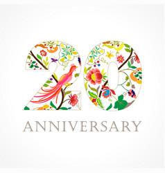 20 anniversary folk logo vector
